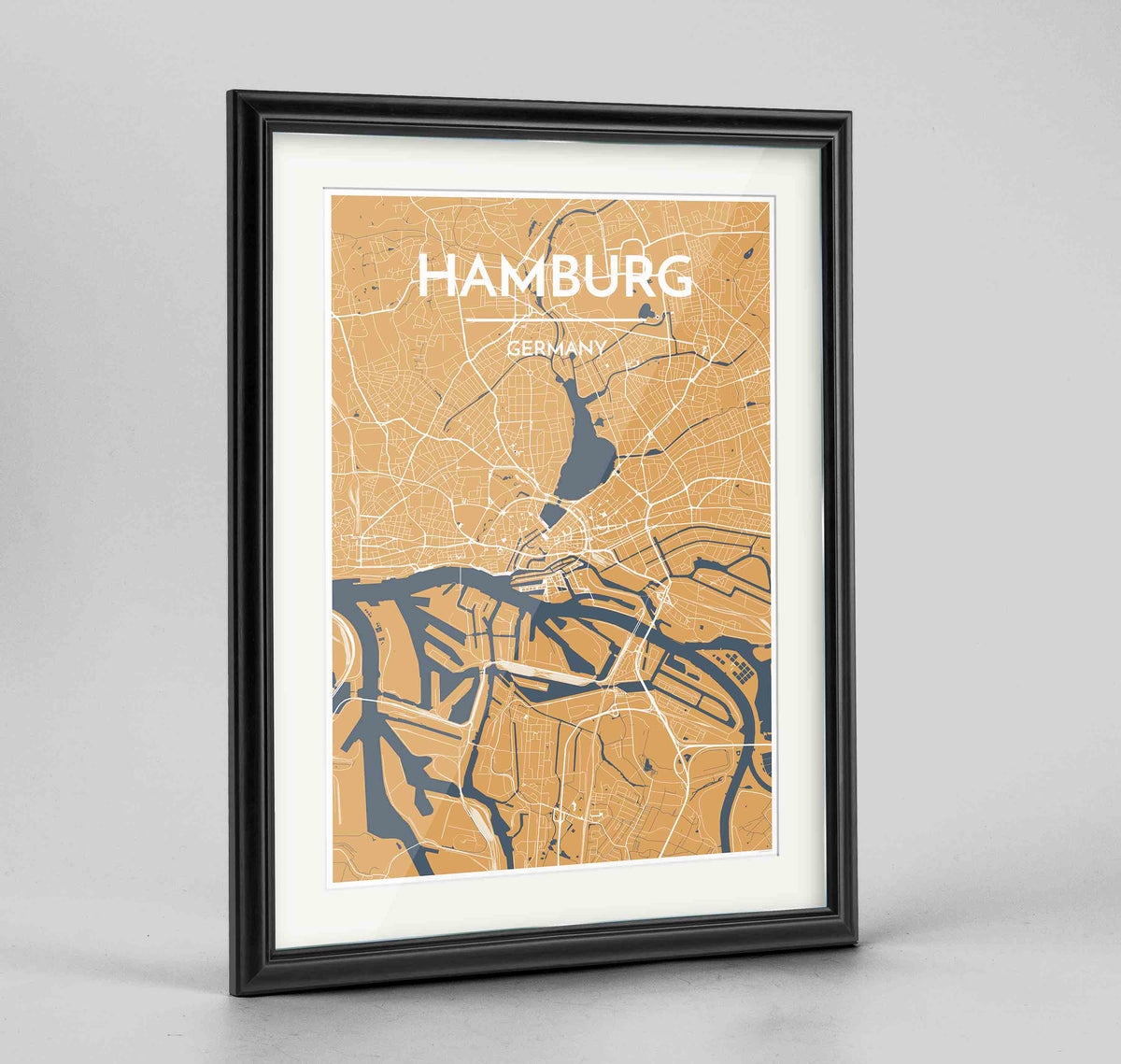 "Framed Hamburg Map Art Print 24x36"" Traditional Black frame Point Two Design Group"