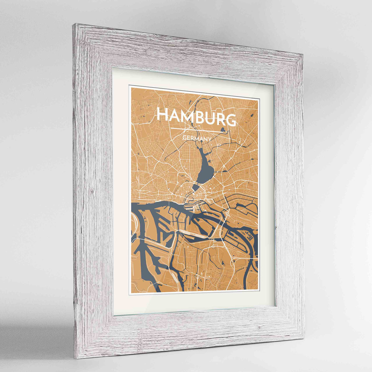 "Framed Hamburg Map Art Print 24x36"" Western White frame Point Two Design Group"