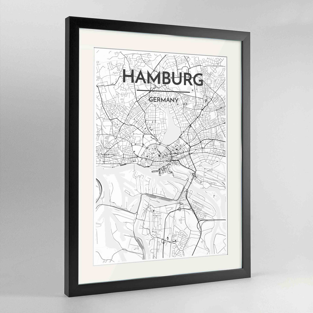 "Framed Hamburg Map Art Print 24x36"" Contemporary Black frame Point Two Design Group"