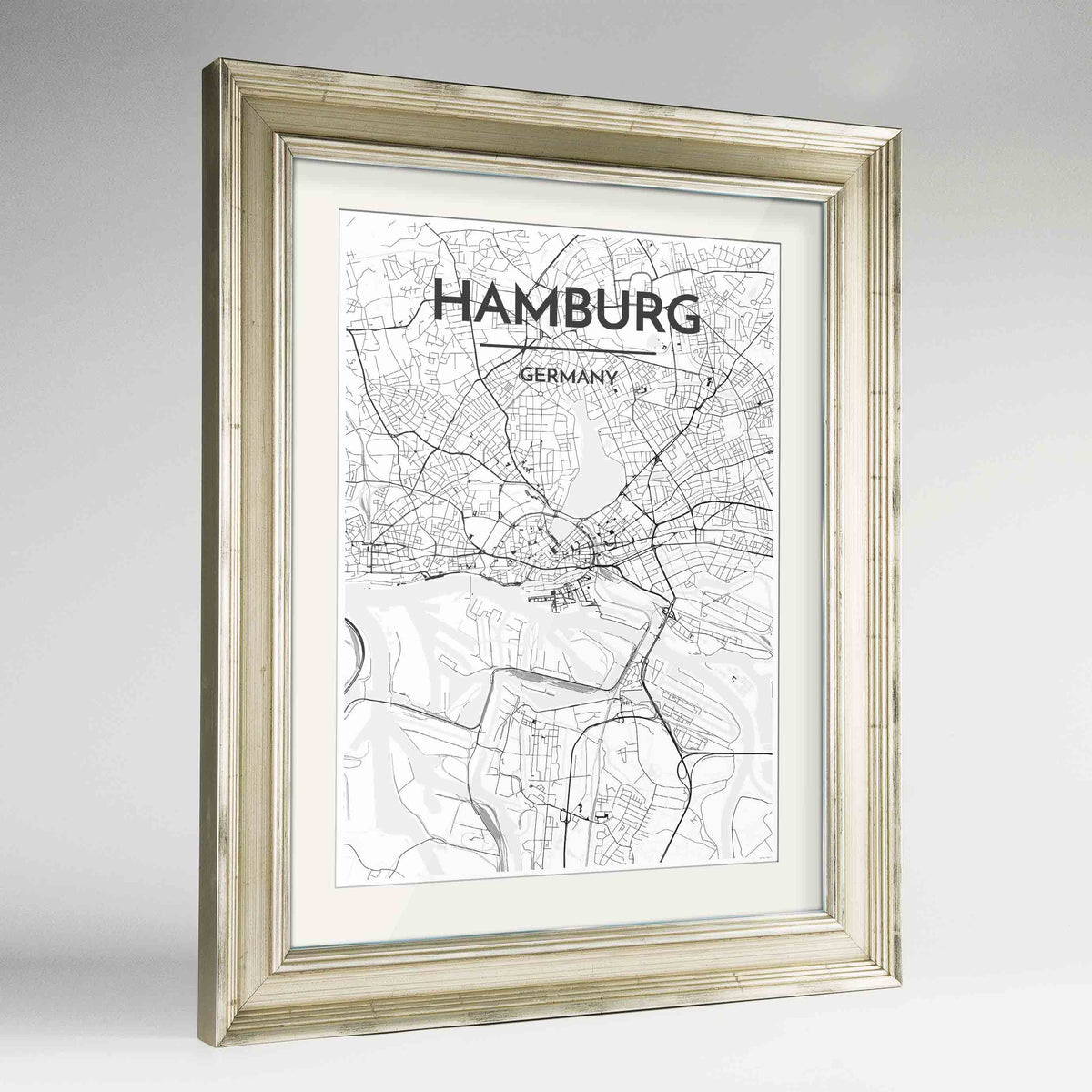 "Framed Hamburg Map Art Print 24x36"" Champagne frame Point Two Design Group"
