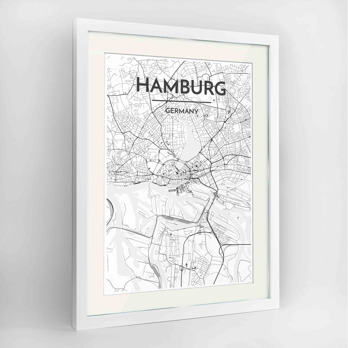 "Framed Hamburg Map Art Print 24x36"" Contemporary White frame Point Two Design Group"