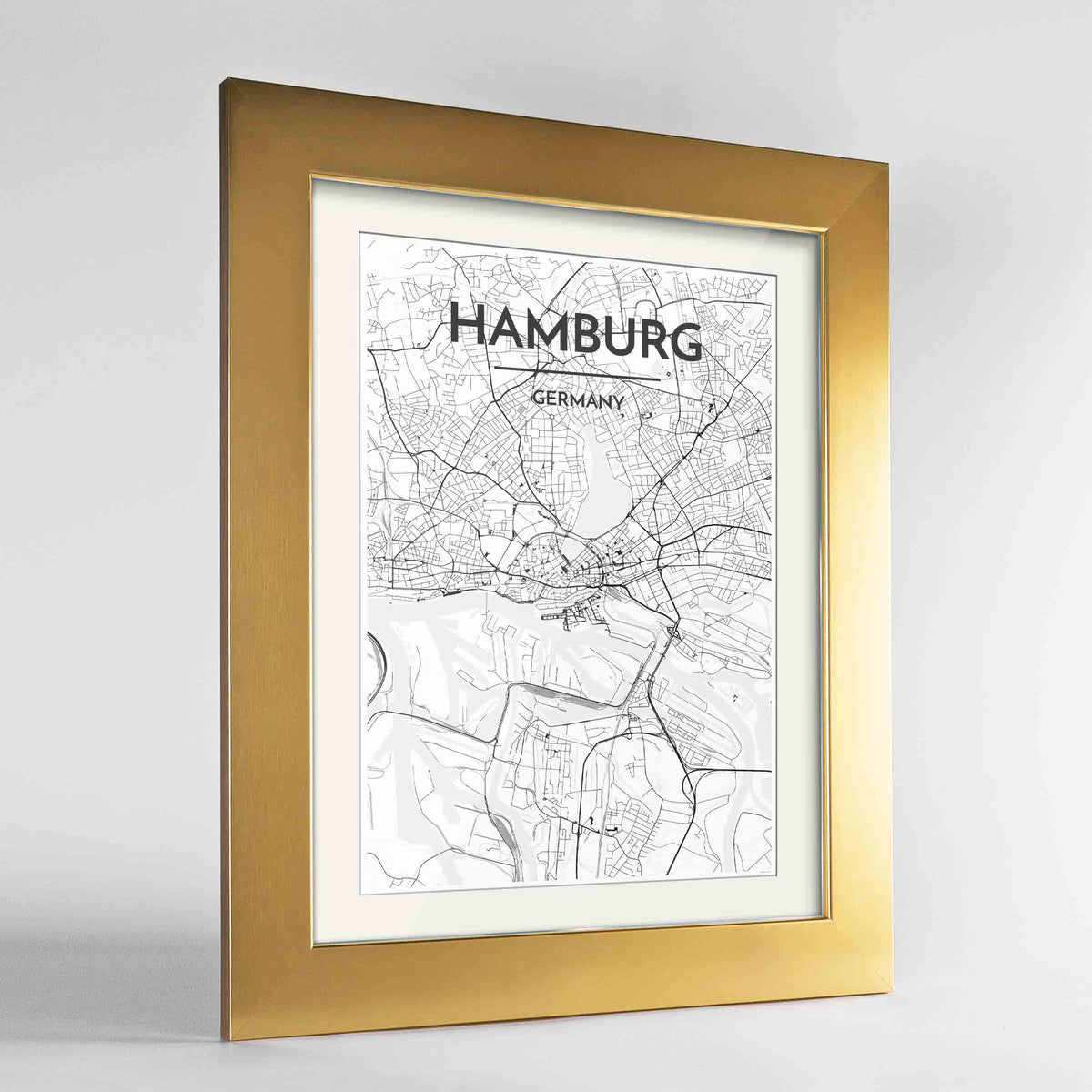 "Framed Hamburg Map Art Print 24x36"" Gold frame Point Two Design Group"