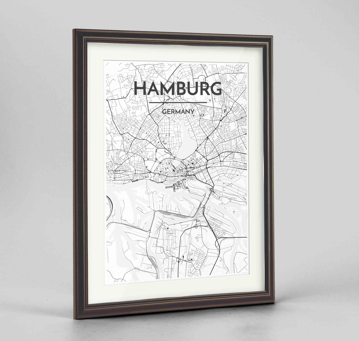 "Framed Hamburg Map Art Print 24x36"" Traditional Walnut frame Point Two Design Group"
