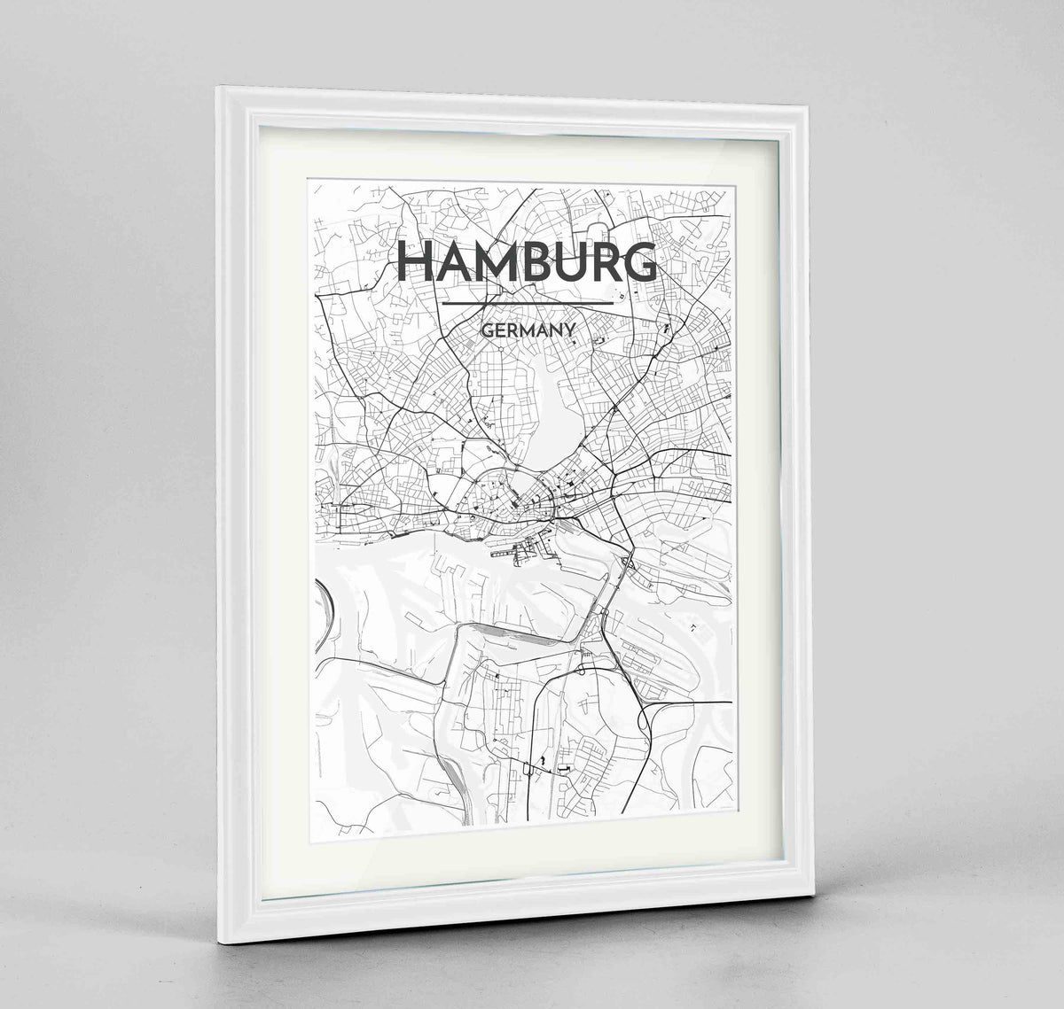 "Framed Hamburg Map Art Print 24x36"" Traditional White frame Point Two Design Group"