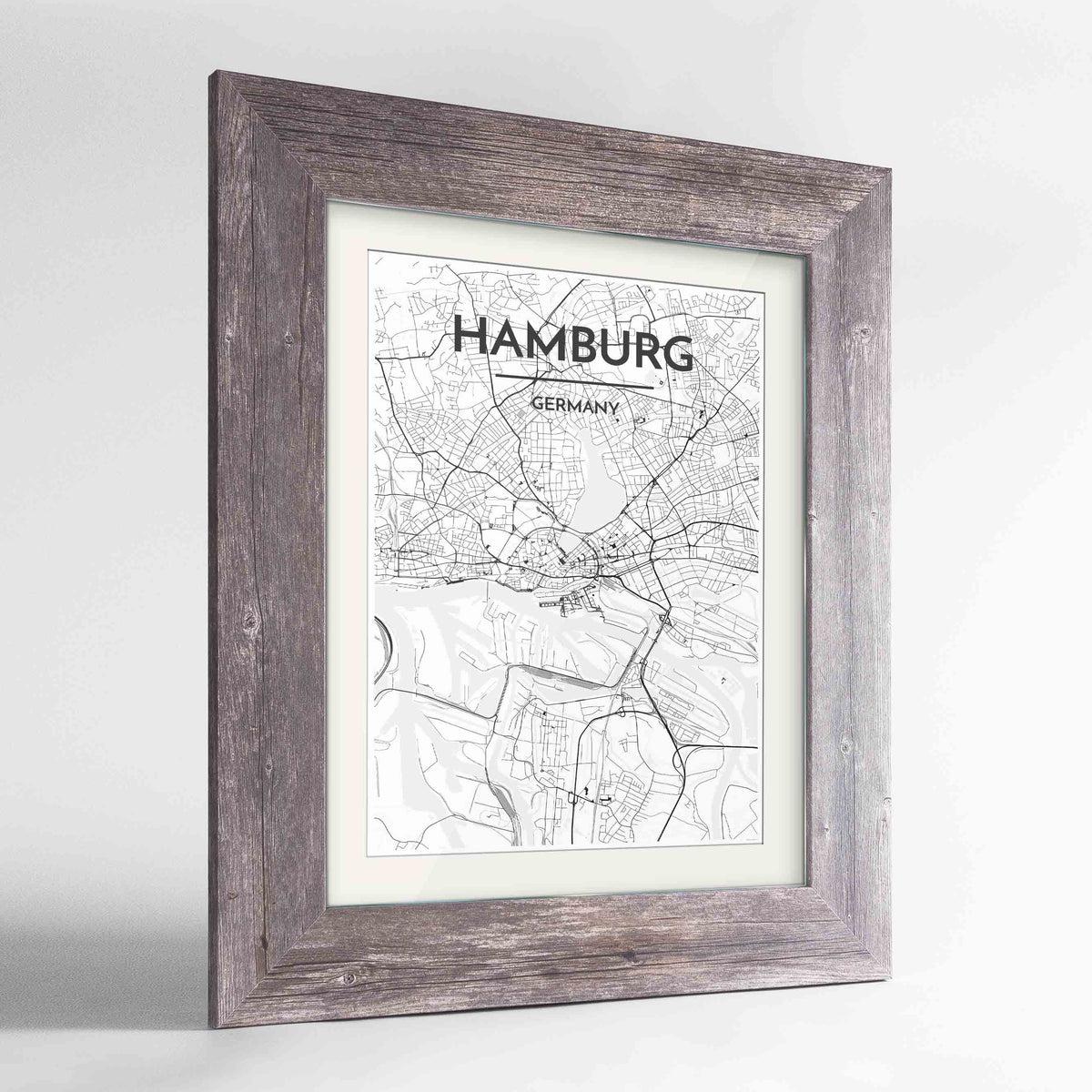 "Framed Hamburg Map Art Print 24x36"" Western Grey frame Point Two Design Group"