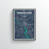 Hannover City Map Art Print - Point Two Design - Black & White Print
