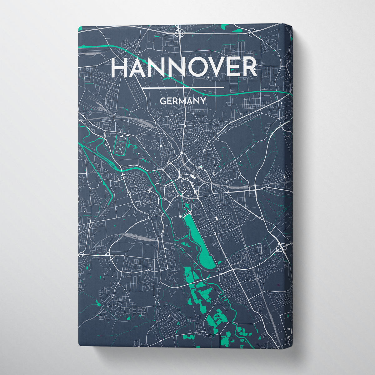 Hannover City Map Canvas Wrap - Point Two Design