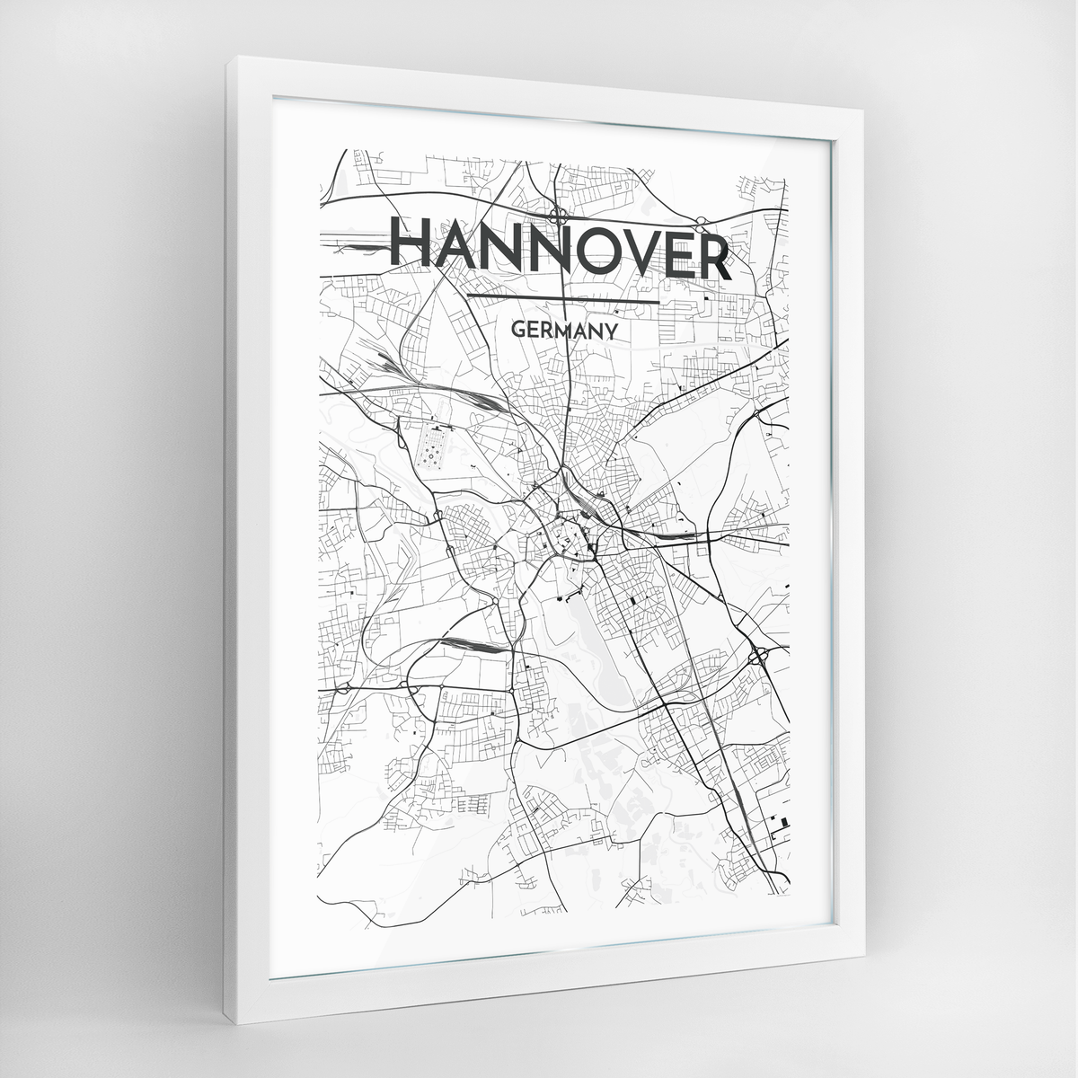 Hannover Map Art Print - Framed