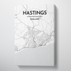 Hastings City Map Canvas Wrap - Point Two Design - Black & White Print