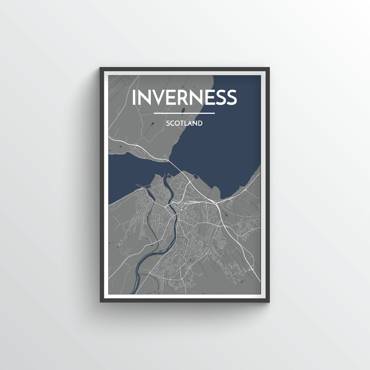 Inverness City Map Art Print - Point Two Design - Black & White Print