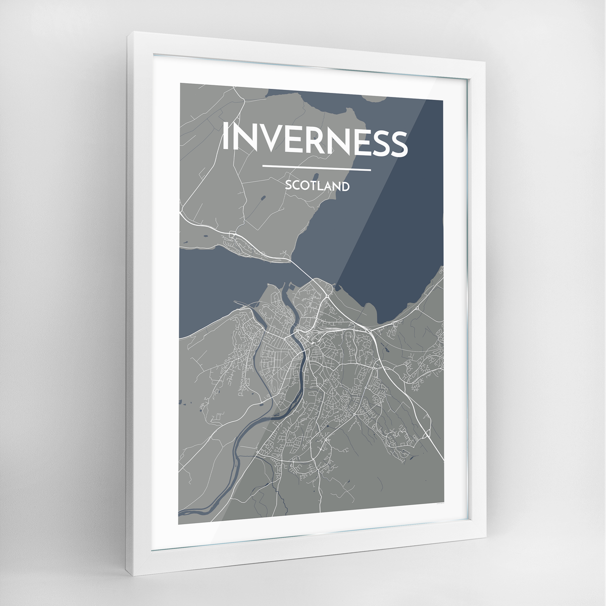 Inverness Map Art Print - Framed