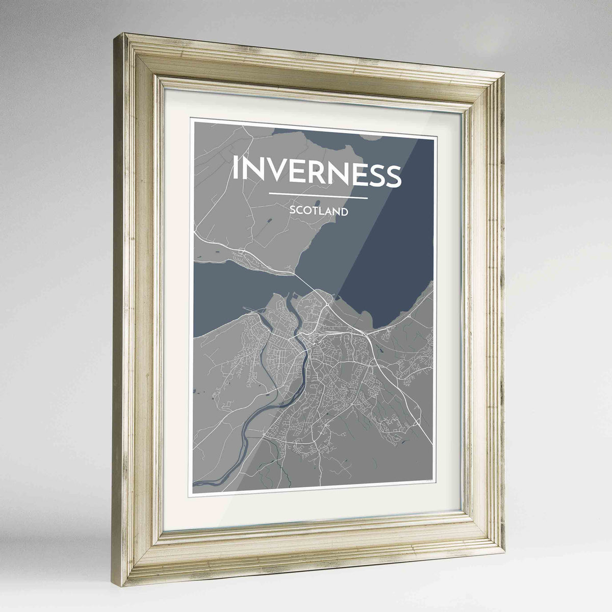 "Framed Inverness Map Art Print 24x36"" Champagne frame Point Two Design Group"