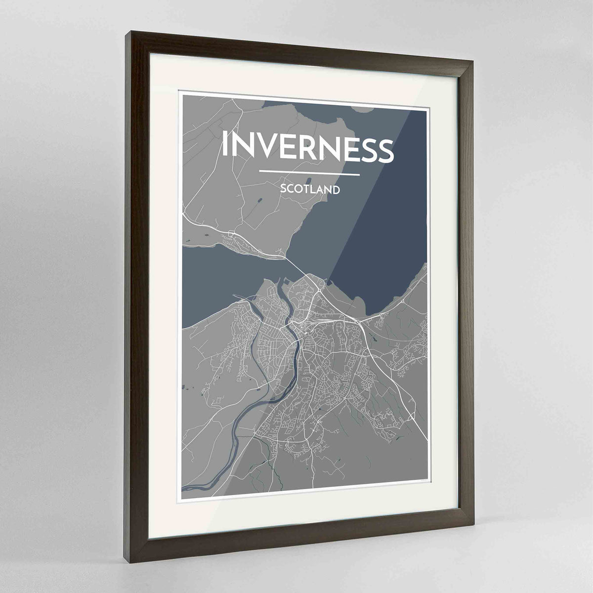 "Framed Inverness Map Art Print 24x36"" Contemporary Walnut frame Point Two Design Group"