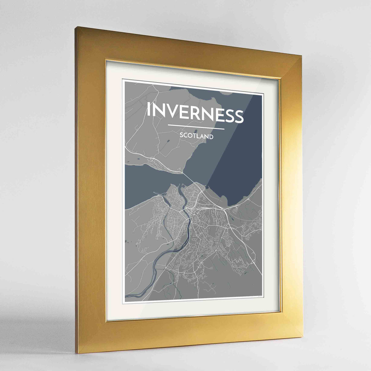 "Framed Inverness Map Art Print 24x36"" Gold frame Point Two Design Group"
