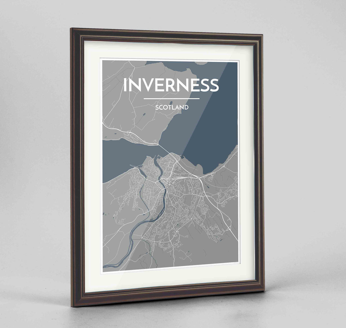 "Framed Inverness Map Art Print 24x36"" Traditional Walnut frame Point Two Design Group"