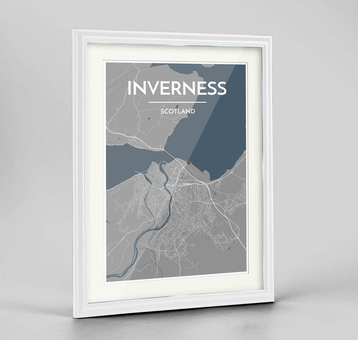 "Framed Inverness Map Art Print 24x36"" Traditional White frame Point Two Design Group"