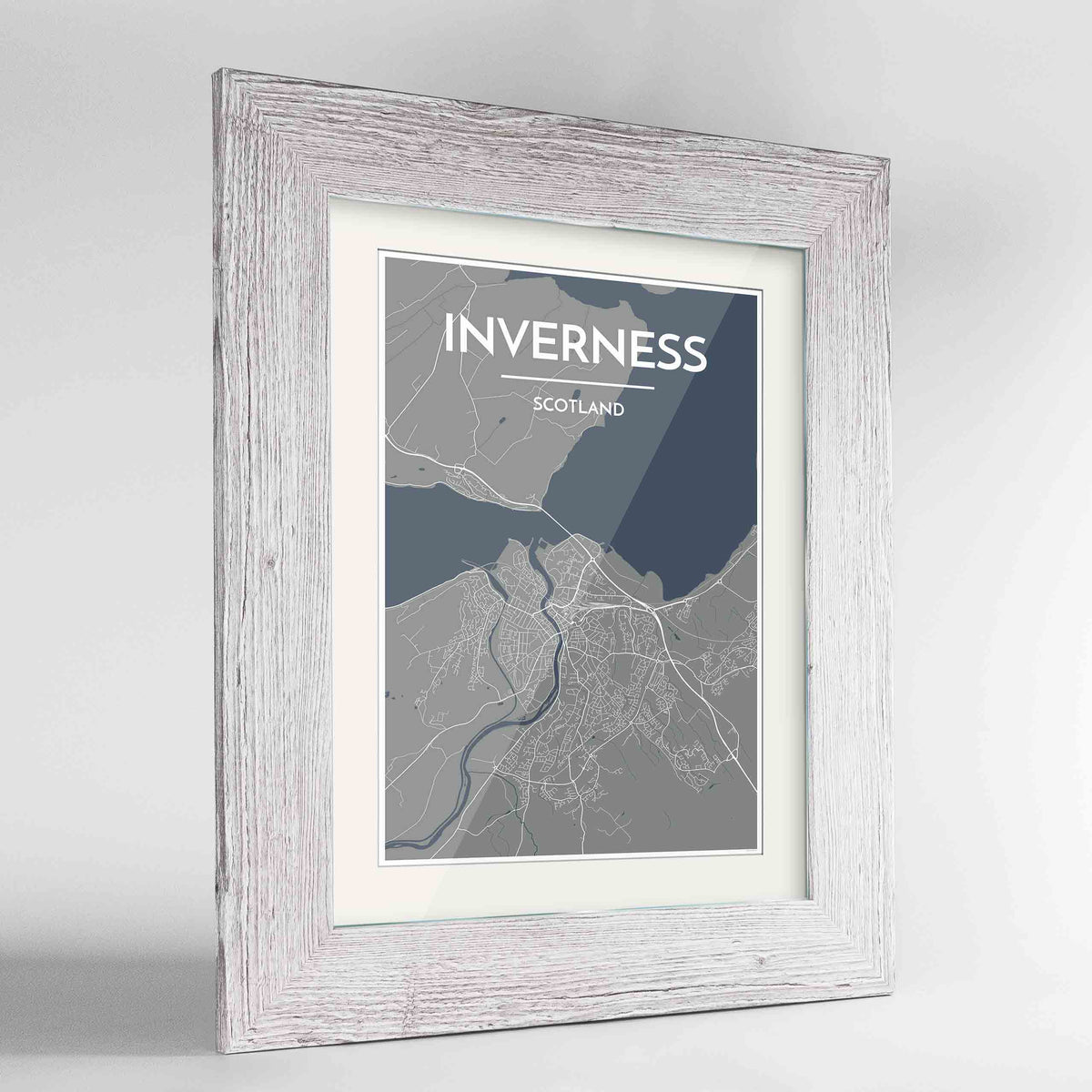 "Framed Inverness Map Art Print 24x36"" Western White frame Point Two Design Group"