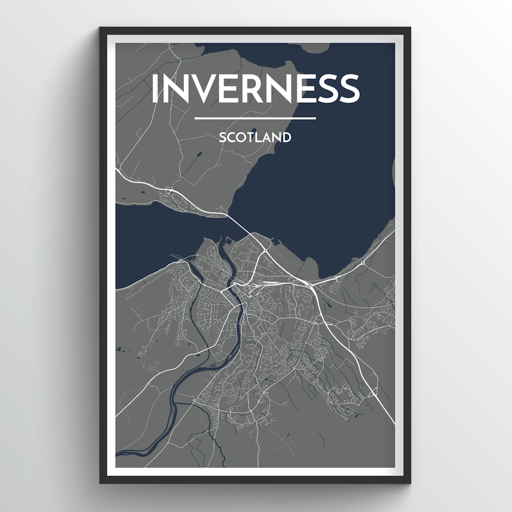 Inverness City Map Art Print - Point Two Design