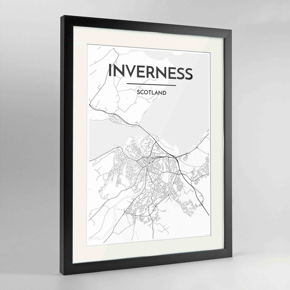 "Framed Inverness Map Art Print 24x36"" Contemporary Black frame Point Two Design Group"