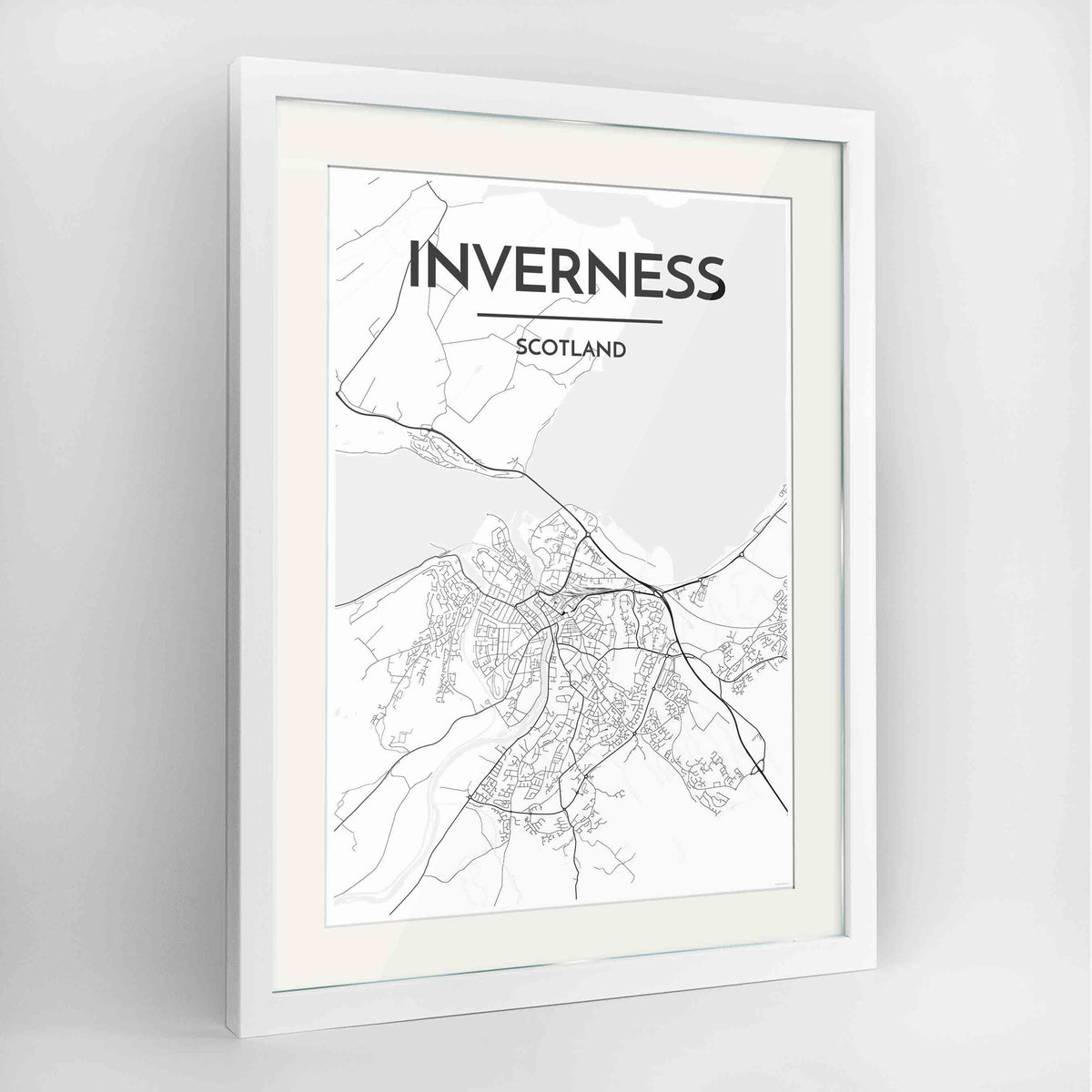 "Framed Inverness Map Art Print 24x36"" Contemporary White frame Point Two Design Group"