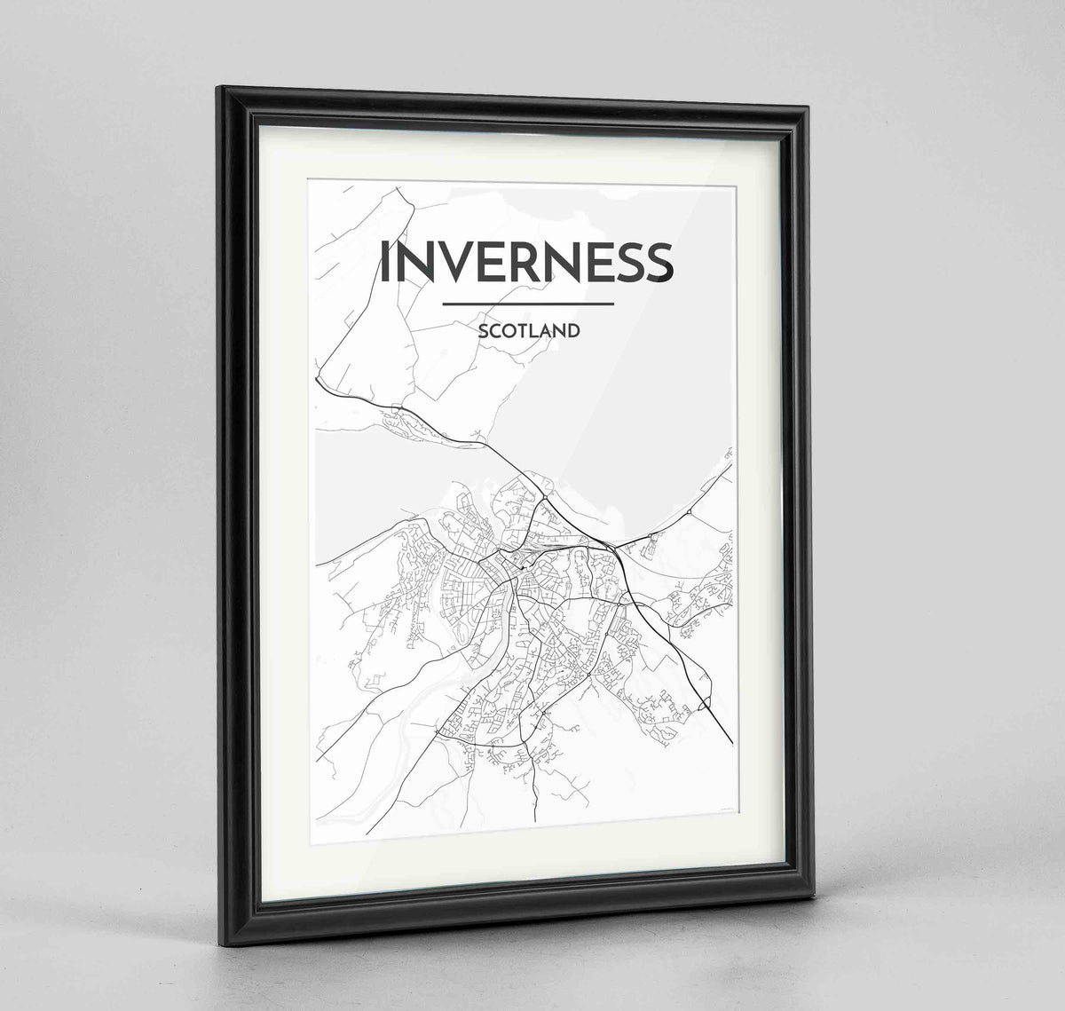 "Framed Inverness Map Art Print 24x36"" Traditional Black frame Point Two Design Group"