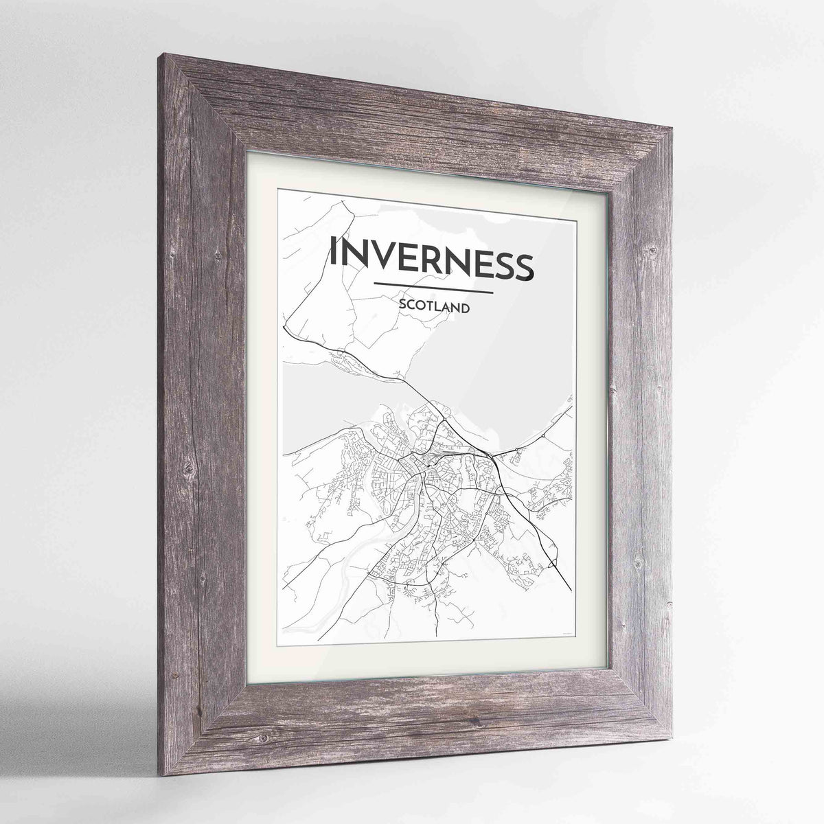 "Framed Inverness Map Art Print 24x36"" Western Grey frame Point Two Design Group"