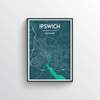 Ipswich City Map Art Print - Point Two Design - Black & White Print