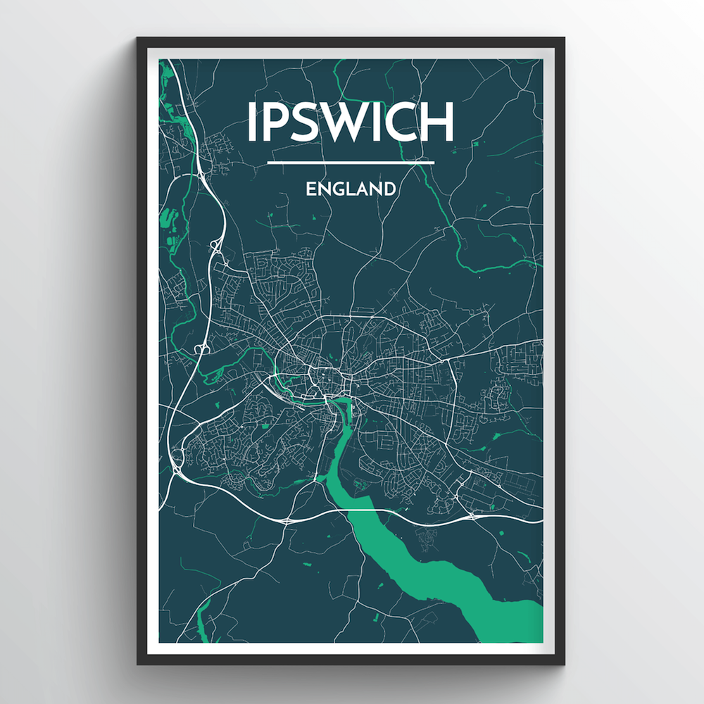 Ipswich Map Art Print - Point Two Design