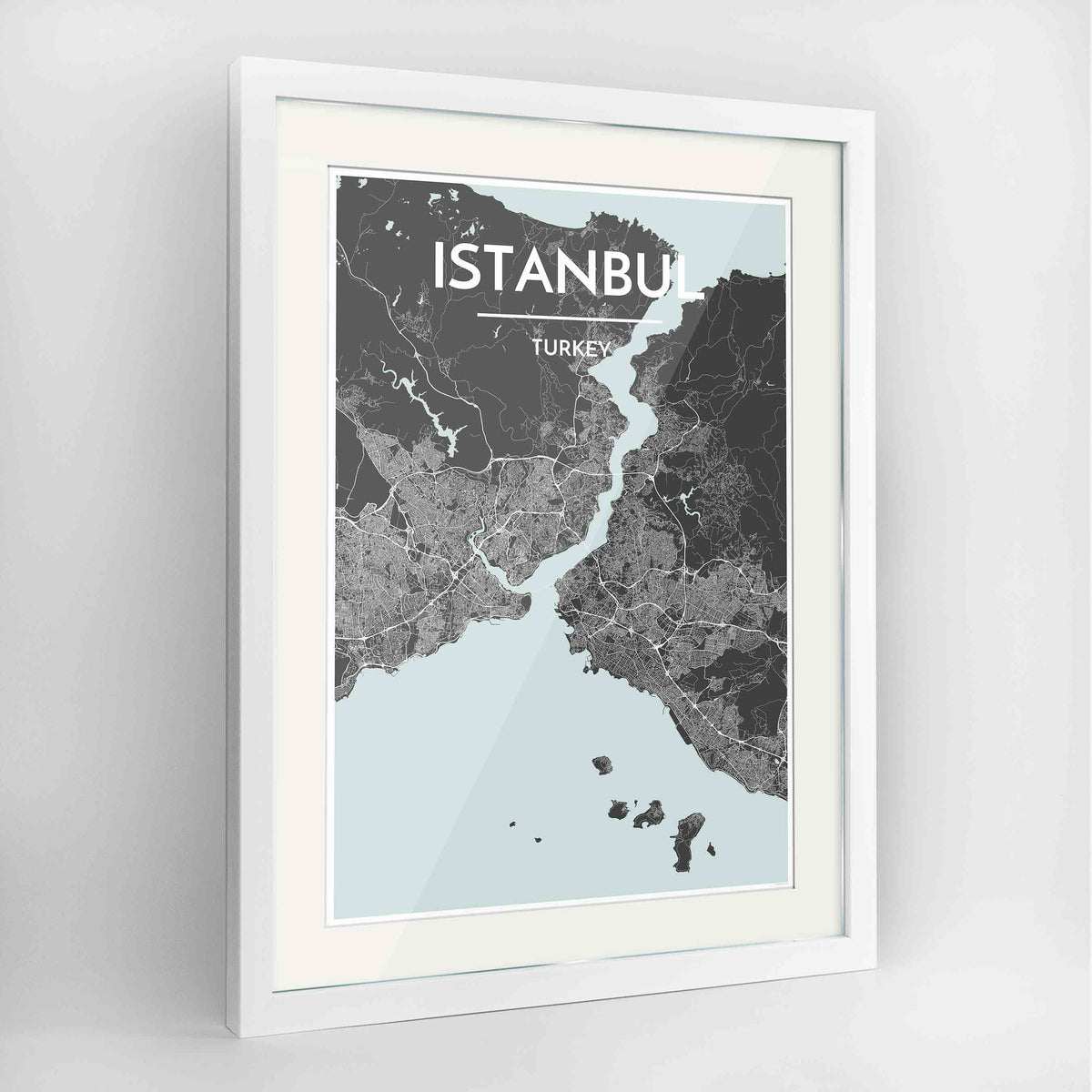 "Framed Istanbul Map Art Print 24x36"" Contemporary White frame Point Two Design Group"