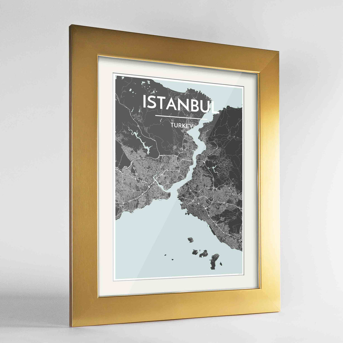"Framed Istanbul Map Art Print 24x36"" Gold frame Point Two Design Group"