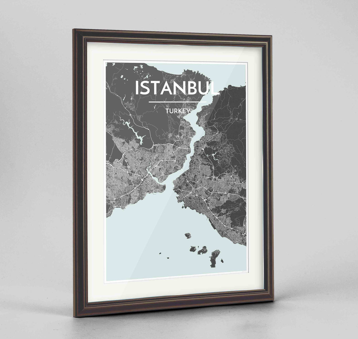 "Framed Istanbul Map Art Print 24x36"" Traditional Walnut frame Point Two Design Group"