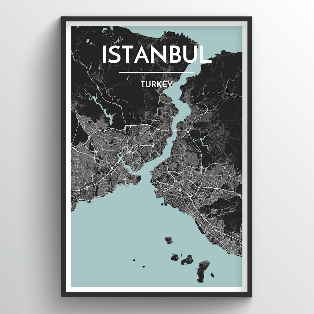 Istanbul City Map Art Print - Point Two Design