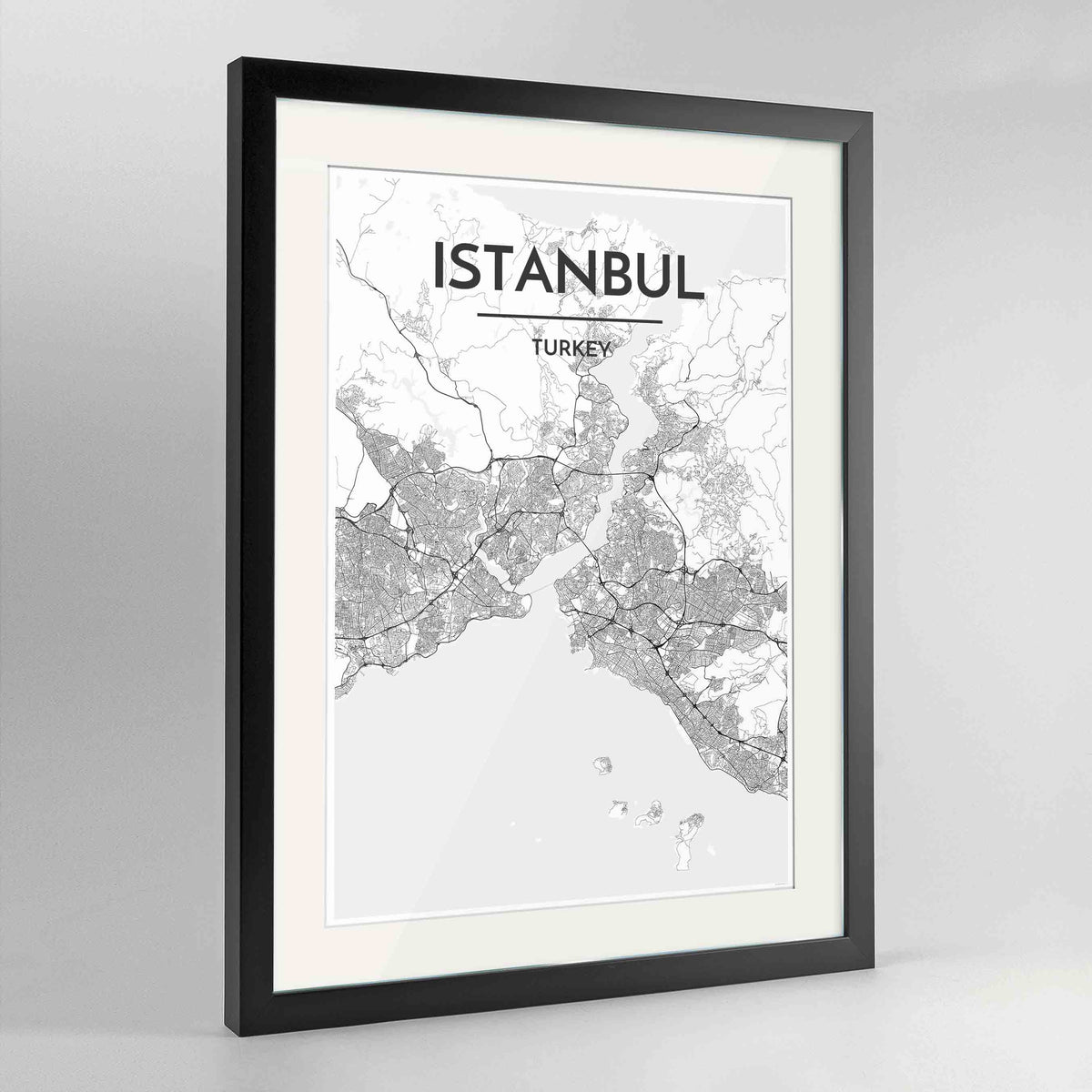 "Framed Istanbul Map Art Print 24x36"" Contemporary Black frame Point Two Design Group"
