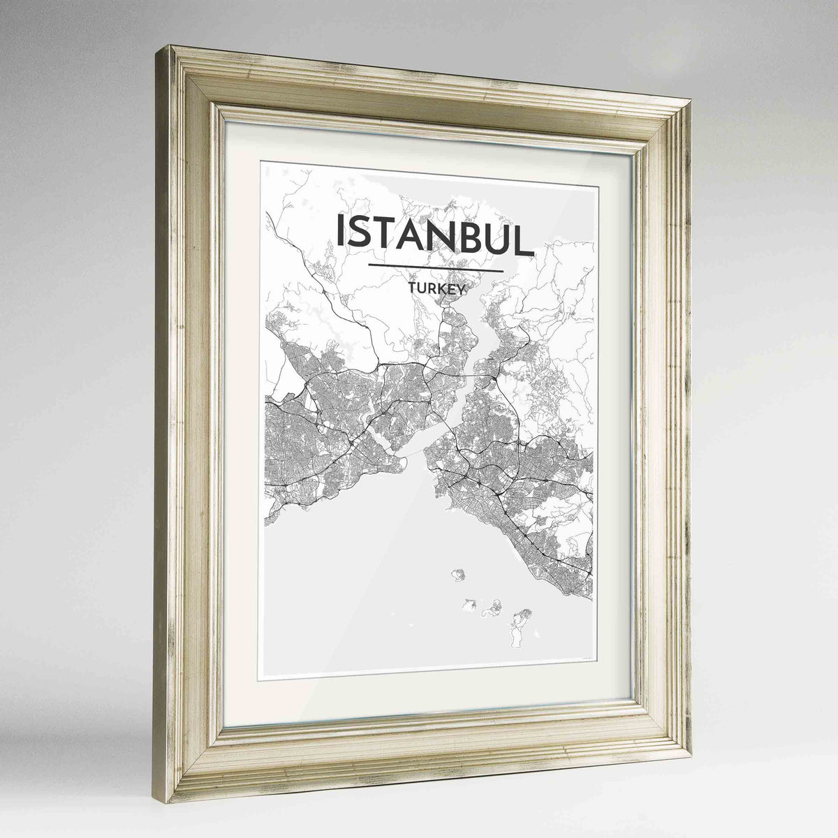"Framed Istanbul Map Art Print 24x36"" Champagne frame Point Two Design Group"