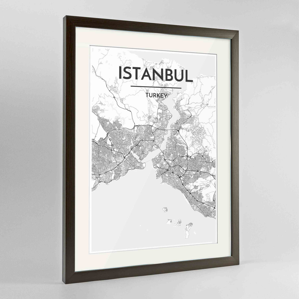 "Framed Istanbul Map Art Print 24x36"" Contemporary Walnut frame Point Two Design Group"
