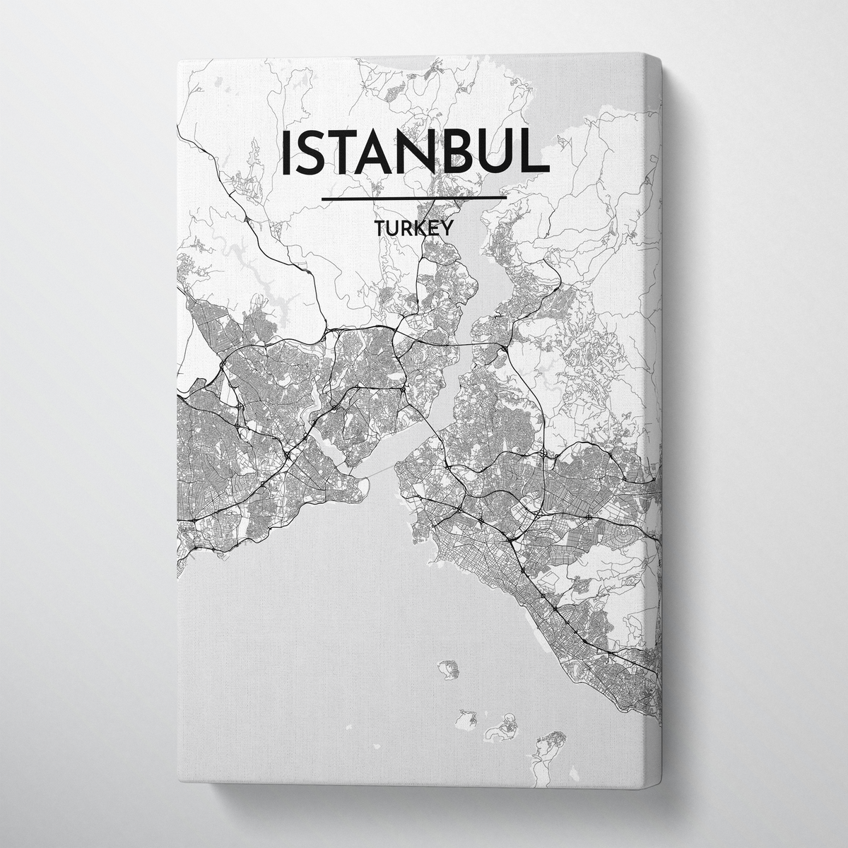 Istanbul City Map Canvas Wrap - Point Two Design - Black & White Print