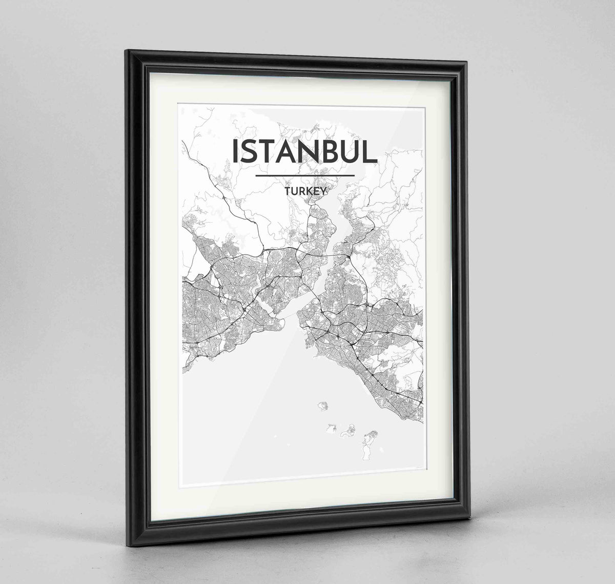 "Framed Istanbul Map Art Print 24x36"" Traditional Black frame Point Two Design Group"