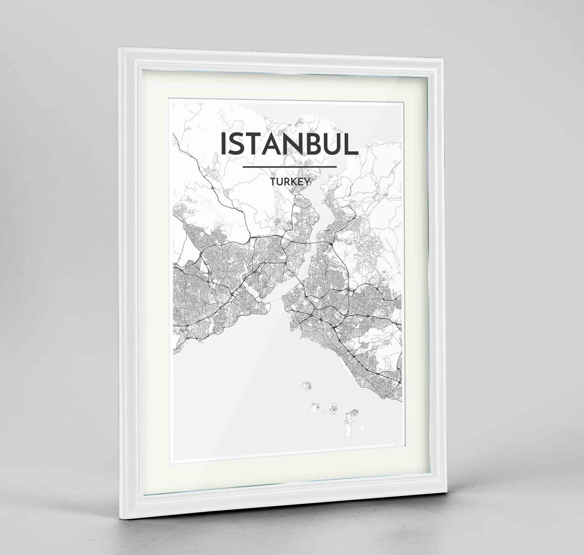 "Framed Istanbul Map Art Print 24x36"" Traditional White frame Point Two Design Group"