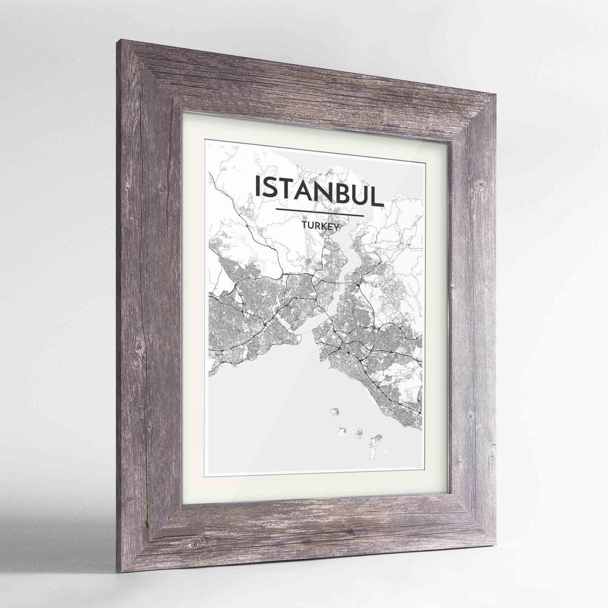"Framed Istanbul Map Art Print 24x36"" Western Grey frame Point Two Design Group"