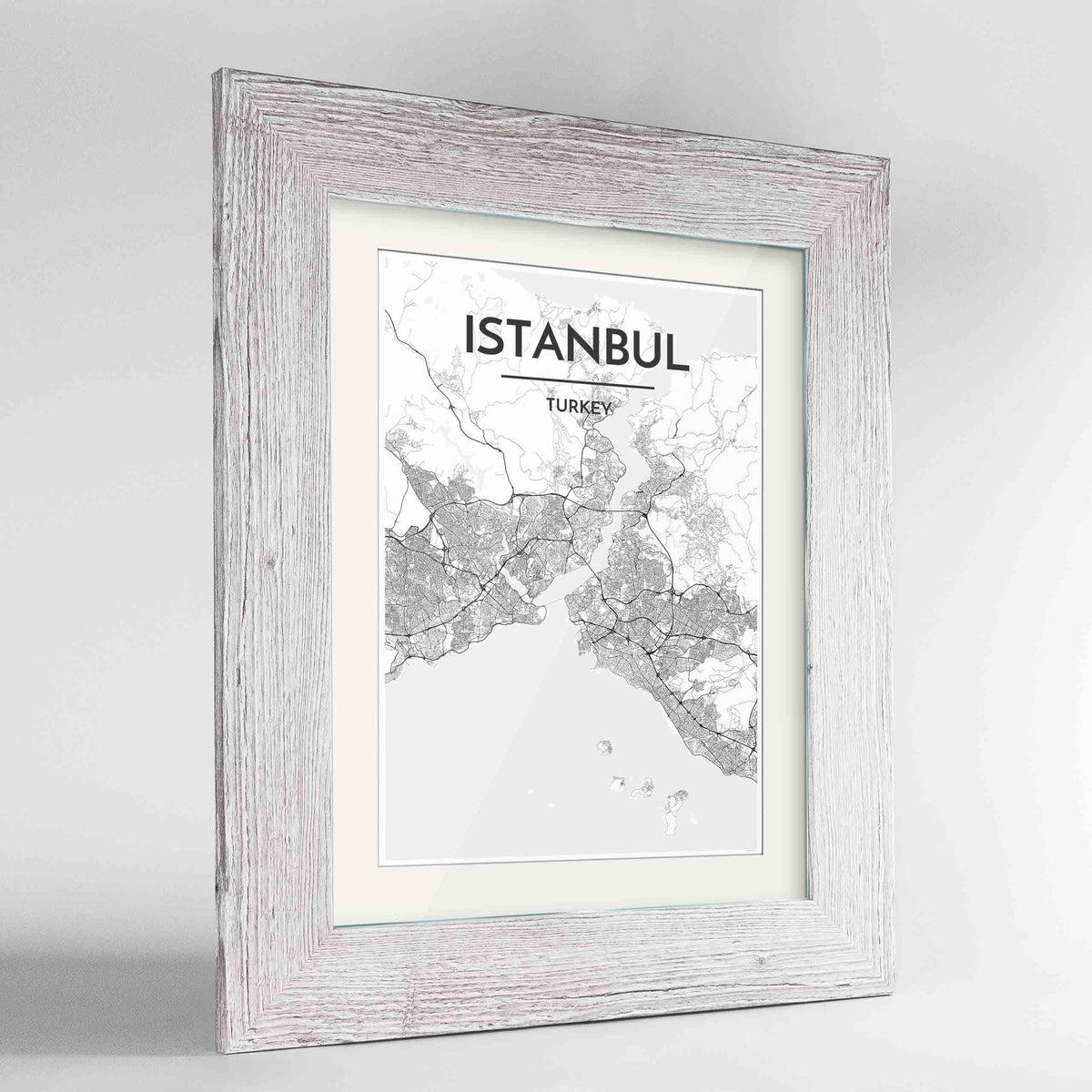 "Framed Istanbul Map Art Print 24x36"" Western White frame Point Two Design Group"