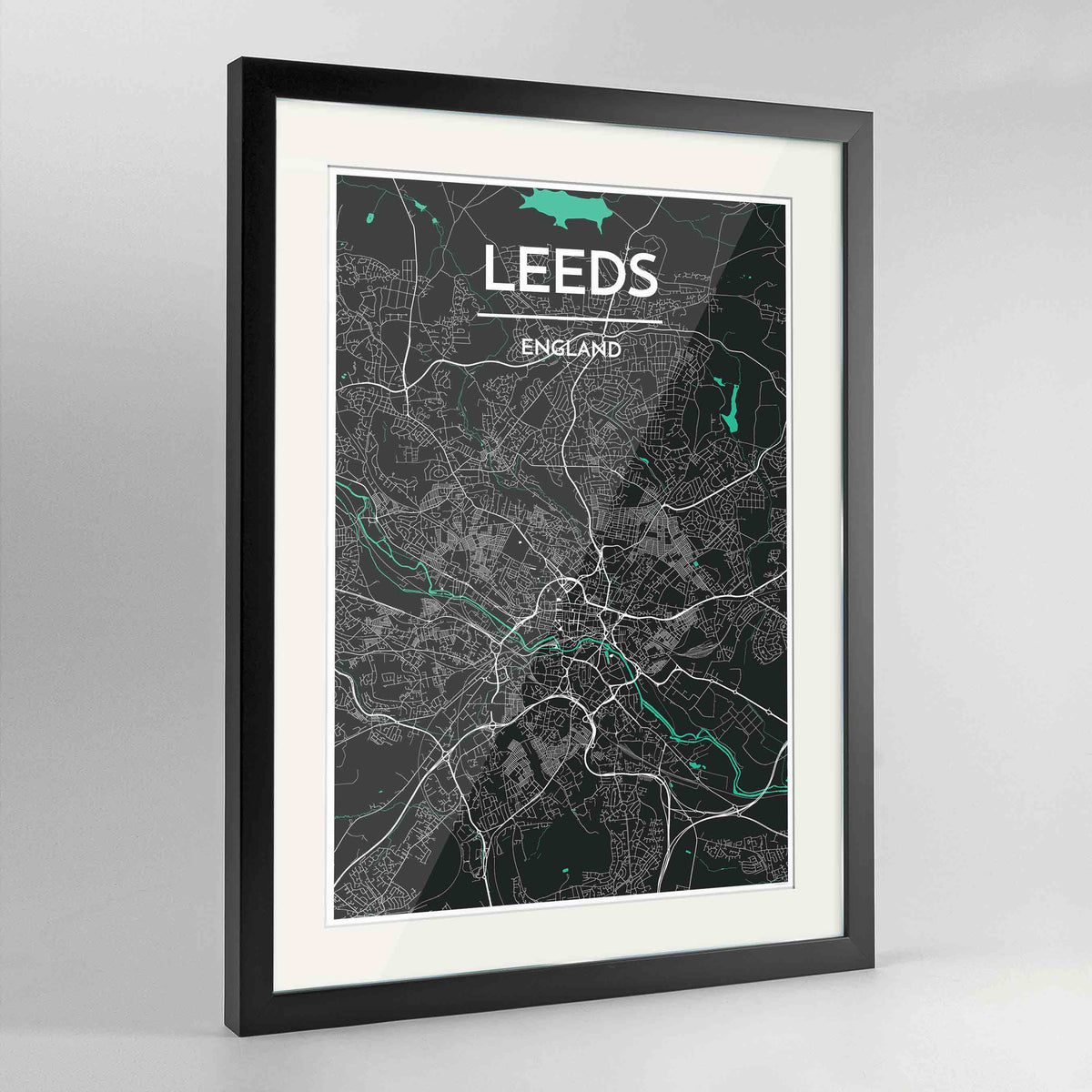 "Framed Leeds Map Art Print 24x36"" Contemporary Black frame Point Two Design Group"