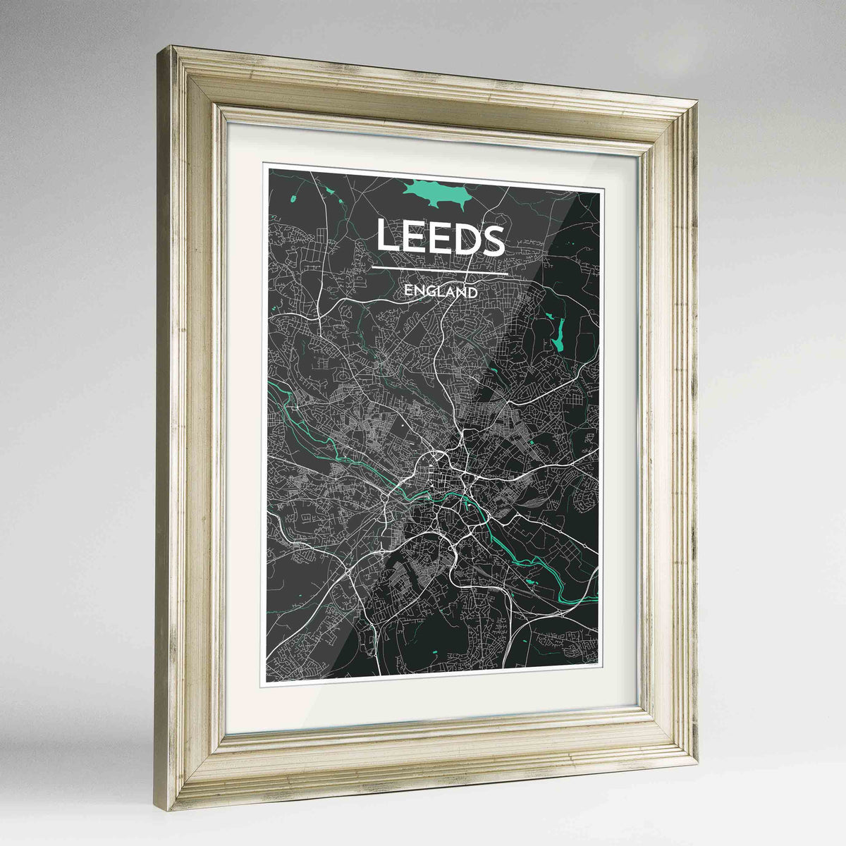 "Framed Leeds Map Art Print 24x36"" Champagne frame Point Two Design Group"