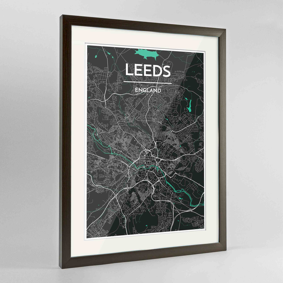 "Framed Leeds Map Art Print 24x36"" Contemporary Walnut frame Point Two Design Group"