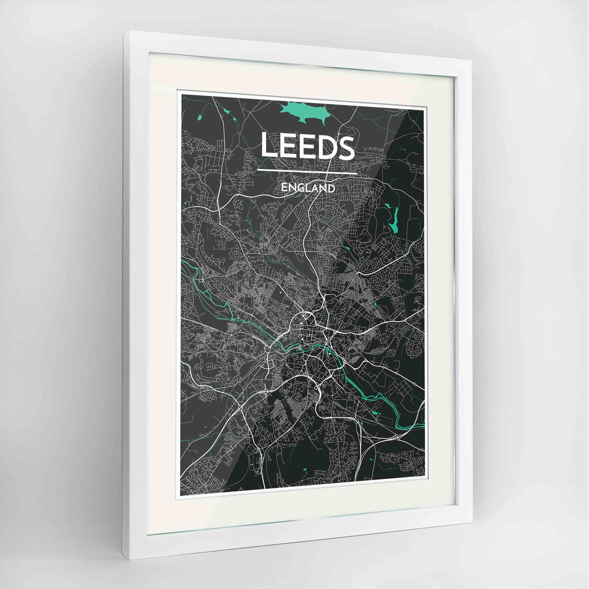 "Framed Leeds Map Art Print 24x36"" Contemporary White frame Point Two Design Group"