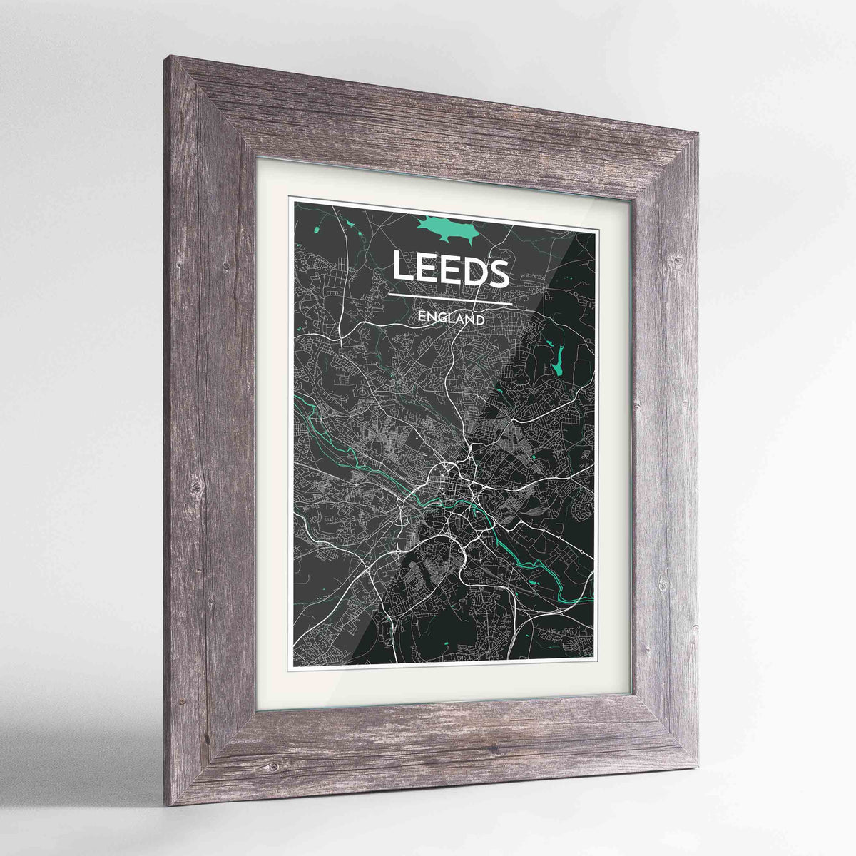 "Framed Leeds Map Art Print 24x36"" Western Grey frame Point Two Design Group"