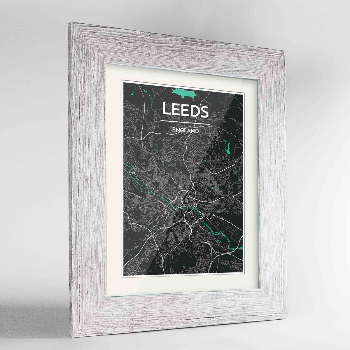 "Framed Leeds Map Art Print 24x36"" Western White frame Point Two Design Group"