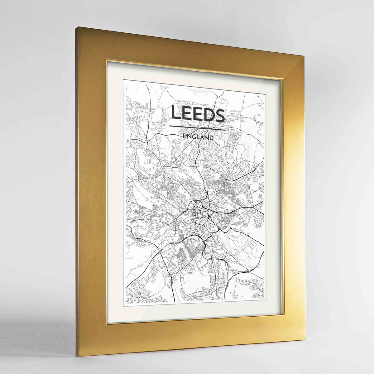 "Framed Leeds Map Art Print 24x36"" Gold frame Point Two Design Group"