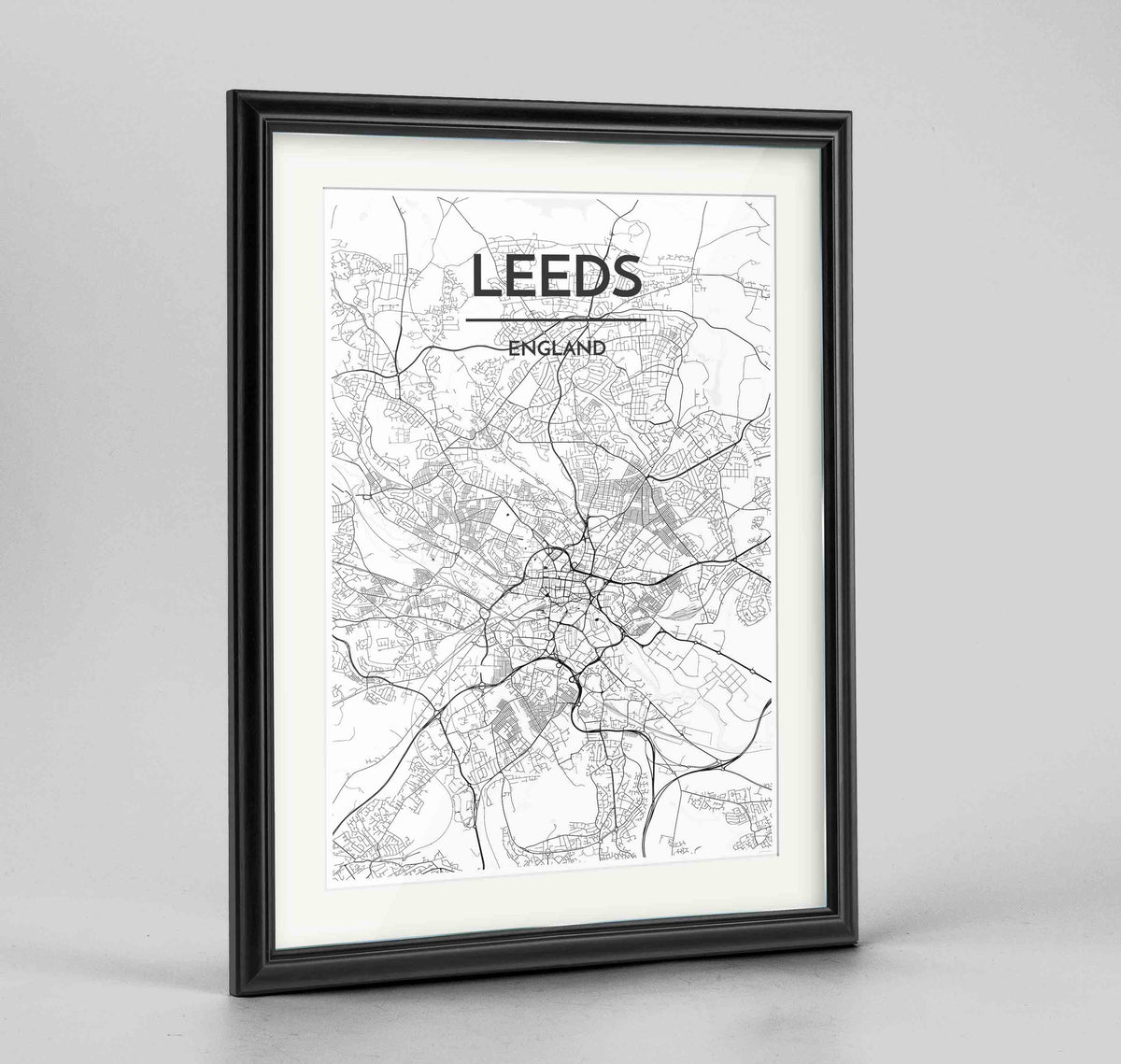 "Framed Leeds Map Art Print 24x36"" Traditional Black frame Point Two Design Group"