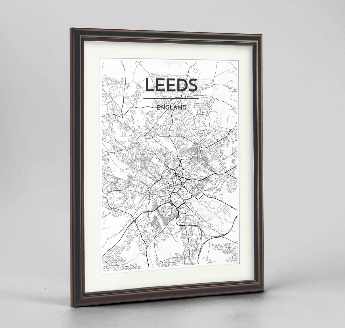 "Framed Leeds Map Art Print 24x36"" Traditional Walnut frame Point Two Design Group"
