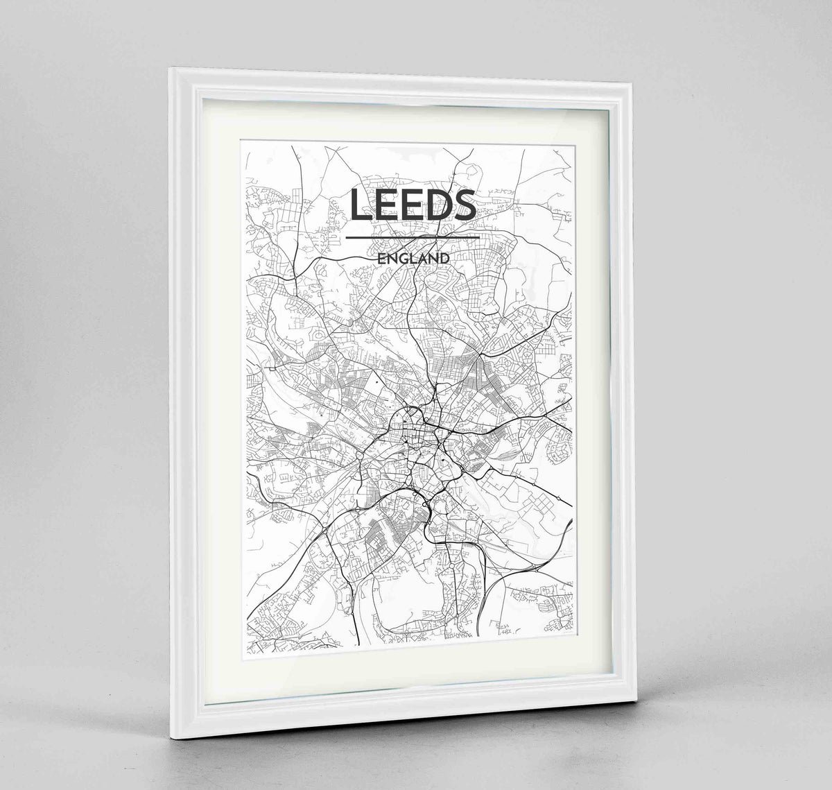 "Framed Leeds Map Art Print 24x36"" Traditional White frame Point Two Design Group"